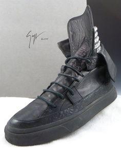 GIUSEPPE ZANOTTI sz 40 LEATHER HIGH TOP SNEAKERS MENS BLACK fits US 7 $795 #GiuseppeZanotti #FashionSneakers #distinctivedeals