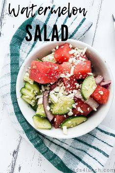 Is there anything more refreshing than a watermelon salad? This one features salty feta, cucumber, dill, and refreshing lime. A great salad to bring to parties or picnics and a delicious way to serve watermelon in a savoury sense. Enjoyed by kids and adults alike with a few simple ingredients, this 10 minute salad is not to be missed! #watermelonsalad #watermelonrecipe #summersalad Watermelon And Feta, Sweet Watermelon, Watermelon Recipes, Cucumber, Healthy Salad Recipes, Lunch Recipes, Summer Recipes, Healthy Food, Dinner Recipes