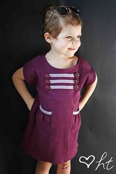 Sew a military inspired girls dress with this featured tute! | Go To Sew