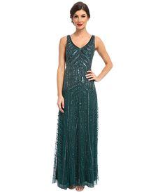 Adrianna Papell - Long Beaded Dress Hunter Womens Dress $340.00 AT vintagedancer.com