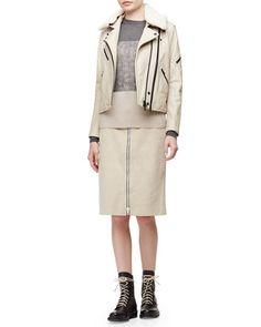 -65MC Rag & Bone Minerva Leather Jacket w/Shearling Collar Allison Front-Zip Suede Skirt Marissa Colorblock Knit Sweater