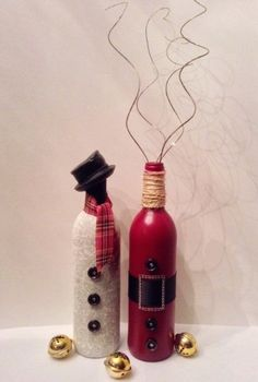 Diy Christmas 2015 snowman and Santa wine bottle crafts - bells, button, yarn, table decoration - wine: Diy list: clever wine bottle crafts By miss_meme_w - LoveItSoMuch
