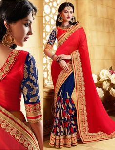 This saree is embellished with butta work, lace and resham work. As shown blouse is available and also can be customized as per your style subject to fabric limitation. Lehenga Style Saree, Red Saree, Saree Blouse, Sari, Indian Bridal Sarees, Georgette Sarees, Wedding Designs, Your Style, Glamour