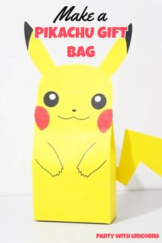 Download a free template and make Pikachu gift bags. This Pikachu gift bags DIY is Perfect for a Pokemon Party Favor or Decoration. All you need to do is download this Pikachu Party bags printable. #pokemon #pokemonparty Pokemon Party Bags, Pokemon Party Supplies, Pokemon Party Decorations, Pokemon Bag, Pokemon Gifts, Pokemon Valentines Box, Pokemon Birthday, Valentine Box, Printable Valentine