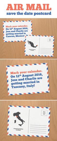 AIR MAIL save the date postcard - DIY printable! / Polkadot Stationery