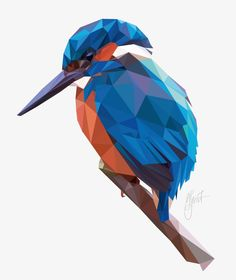 Kingfisher (2017), Low poly, geometric.  Digital Art created by Dennis Smit. www.schmitzl.nl