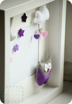 shadow box felt stars owl cloud