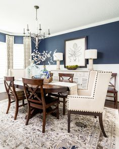 Dark Blue Dining Room, Dining Room Colors, Dining Room Walls, Dining Room Design, Blue Dining Room Paint, Dinning Room Paint Colors, Dinning Room Wall Decor, Casual Dining Rooms, Formal Living Rooms