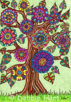 """""""Brightly Flowering Tree of Life"""" by Debbie Hart"""