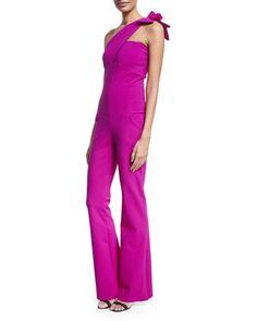 Beba One-Shoulder Jersey Flare-Leg Jumpsuit, Black by La Petite Robe di Chiara Boni at Neiman Marcus.