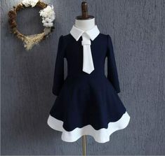 Cheap clothes children, Buy Quality girls dress directly from China autumn girl dress Suppliers: 2017 autumn girls dresses preppy style navy style dress long sleeve patchwork kids party girls clothes children Dresses Kids Girl, Girls Party Dress, Baby Dress, Kids Outfits, Dress Party, Party Dresses, School Fashion, Fashion Kids, Fashion Outfits