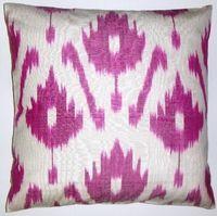 IKT078 Hot Pink silk/cotton ikat pillow cover at fabricadabra