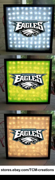 NFL National Football League Philadelphia Eagles shadow boxes with LED lighting & multiple colored vinyl decals