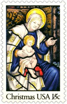 The second Christmas stamp issued in 1980 features a section of stained glass from the National Cathedral in Washington, D.C. Beautiful! Be sure to check back every day as we continue our 50 Years of Christmas Stamps countdown.