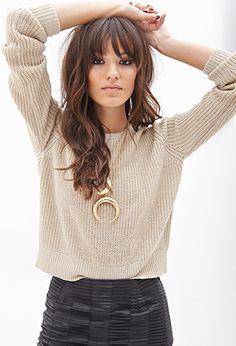 Metallic Sweater + Leather Skirt