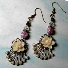 Vintage Rose Earrings  Evita    Ivory Roses At The by Msemrick, $20.00
