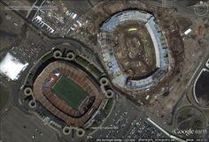 "Giants Stadium & MetLife Stadium - East Rutherford, New Jersey, USA.   40°48'43.78""N 74° 4'36.40""W  Google Earth"