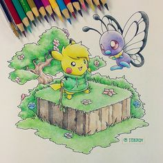 Artist: Itsbirdy | Pikachu | Butterfree