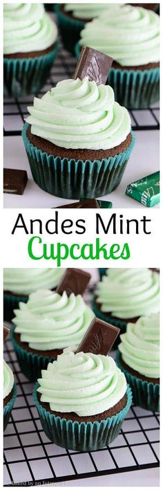 The best homemade chocolate cupcakes topped with thick and creamy mint frosting. These cupcakes taste just like the Andes mint candy!