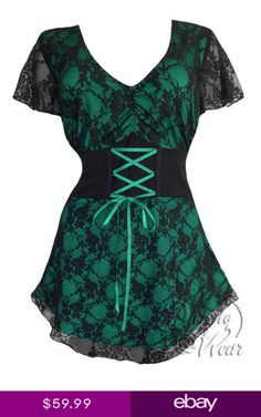 1c3dadbcd77 Dare To Wear Victorian Gothic Womens Plus Size Sweetheart Corset Top in  Emerald