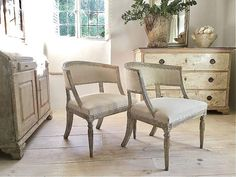 pair-of-swedish-gustavian-barrel-back-armchairs A Swedish late Gustavian pair of nicely carved and very comfortable barrel back armchairs .These stunning Swedish chairs have barrel backs and the frame features lamb's tongue carving This pair has been newly upholstered antique hemp linen.circa 1880 H X 77.5 cm W x 60 cm D x 59 cm Seat height 45 cm