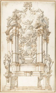 Design for a Freestanding Altar dedicated to the Assumption of the Virgin. Pen and brown ink, brush and gray wash, over traces of graphite or black chalk; Artist: anonymous, Italian, first half of the century Architecture Antique, Art Et Architecture, Architecture Details, Ancient Greek Architecture, Historical Architecture, Architecture Religieuse, Illustration Art, Illustrations, Renaissance Art