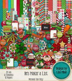 He's Makin' a List , Christmas Scrapbook Kit, Digital Christmas Kit, Elf Scrapbook Kit, Santa Scrapbook Kit, Letters to Santa, Holiday Scrapbook Kit