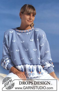 "DROPS 22-5 - DROPS jumper with ice flower pattern in ""Paris"". - Free pattern by DROPS Design"