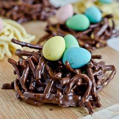 Chocolate Easter Nests. TRIED AND THEY LOOK CUTE, BUT JUST OKAY TO EAT. WE ADDED PEANUT BUTTER TO ADD A LITTLE FLAVOR