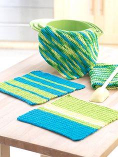 Easy Stripes Hand Towel and Dishcloth Set   Yarn   Free Knitting Patterns   Crochet Patterns   Yarnspirations