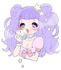 marshmallow world cupcake girl pastel ponytail anime illustration stars girly bows