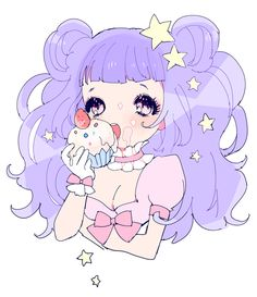 marshmallow world cupcake girl pastel ponytail anime illustration stars girly bows