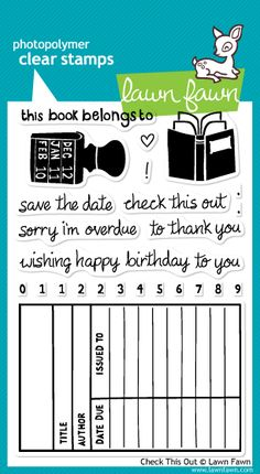 the Lawn Fawn blog: CHA Summer 2012 Stamp Reveal! As a librarian how can I turn this one down? :)