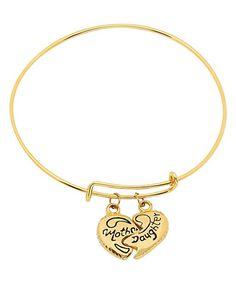 Look at this #zulilyfind! Gold Mother & Daughter Heart Charm Bracelet by HMY Jewelry #zulilyfinds