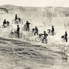 Looking for another way to promote mobility, a short-lived experiment with bicycles was seen as a means to replace horses. In 1896 a select group of hardy men from the 25th Infantry peddled from Fort Missoula, Montana, to St. Louis, Missouri. Their cycling experiences would take them to Minerva Terrace in Wyoming's Yellowstone National Park.