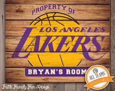 nba los angeles lakers team sign printable personalized man cave teen room