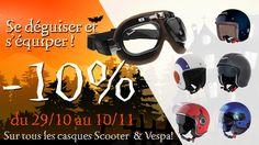 Promotion Spéciale Halloween ! Attention les monstres sont de sorties ! Jusqu'au Jeudi 10 Novembre seulement équipez-vous et bénéficiez de 10% de remise sur notre collection de casques Scooter et Vespa. http://www.atelierdeuxroues.com/promotions