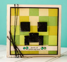 Minecraft by chelemom - Cards and Paper Crafts at Splitcoaststampers Minecraft Birthday Card, Birthday Cards For Boys, Masculine Birthday Cards, Handmade Birthday Cards, Masculine Cards, Boy Birthday, Handmade Cards, Birthday Ideas, Minecraft Pixel Art