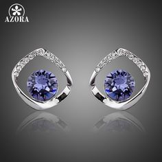 AZORA Noble White Gold Plated Blue Stellux Austrian Crystal Stud Earrings TE0041