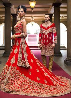 Indian Bride Groom Lehenga choli and Sherwani Dress Red Wedding Dresses, Custom Wedding Dress, Pakistani Wedding Dresses, Indian Dresses, Bridal Dresses, Wedding Outfits, Indian Outfits, Wedding Gowns, Indian Clothes