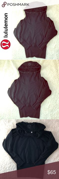 🍋Lululemon Black  Funnel Neck Hoodie Size 6 🍋Lululemon Athletica Black  Funnel Neck Hoodie Size 6, this hoodie doesn't have any pilling, tears, holes, or signs of wear! Has a cinched waist with a baggy torso and funnel neck!❤️ lululemon athletica Tops Sweatshirts & Hoodies