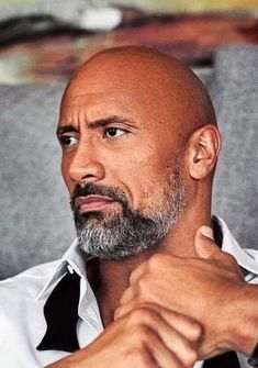 """The Rock - One positive person who does not give up personally and professionally. From wrestling to movies he's awesome. """"Can you smell what the Rock is cooking for breakfast? The Rock Dwayne Johnson, Rock Johnson, Dwayne The Rock, Bald With Beard, Bald Men With Beards, Michael Ealy, Christina Hendricks, Beard Styles, Rock Style"""