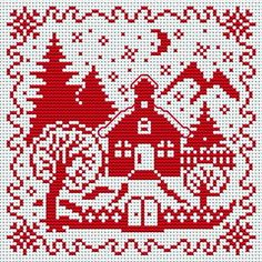 Вышивка крестом / Cross stitch/ a sweet little collection of holiday patterns. Cross Stitch House, Cross Stitch Charts, Cross Stitch Designs, Cross Stitch Patterns, Christmas Embroidery, Christmas Knitting, Christmas Cross, Cross Stitching, Cross Stitch Embroidery