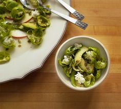 I've been looking for a good raw brussels recipe! Raw Brussels & Avocado Salad in Tarragon Dressing., Honest Fare by Gabrielle Arnold