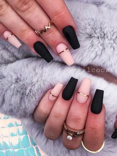 Black matte coffin acrylics 2020 with two accent nude nails matte with gold strip design! Black Matte Acrylic Nails, Black And Nude Nails, Black Ombre Nails, Black Coffin Nails, Acrylic Nails Coffin Short, Coffin Shape Nails, Best Acrylic Nails, Summer Acrylic Nails, Coffin Acrylics