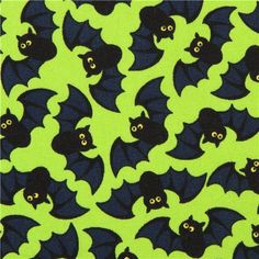 lime green Halloween bat fabric Timeless Treasures USA 1