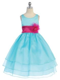 Fascinating 3 layered Organza flower girl dress you can customize with different colors of sashes and flowers