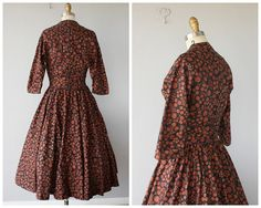 1950s Dress 50s Dress Printed 1950s Dress by CustardHeartVintage