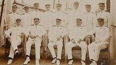 Original oversized portrait of Titanic officers, including Captain Smith, while on her sister ship, the Olympic. It's among some of the items from the RMS Titanic that will be auctioned April 19-26
