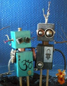 Robot Sculptures from found and recycled objects